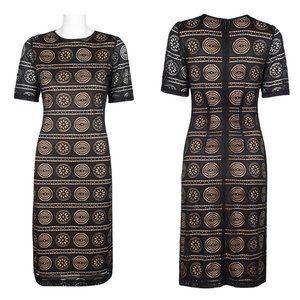 Sharagano Short Sleeve Zipper Back Lace Dress